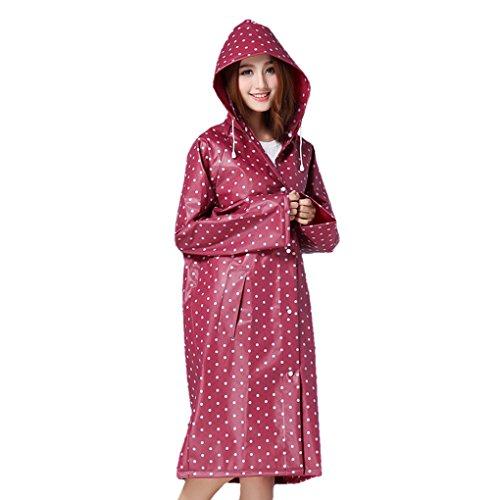 FakeFace Home Poncho de Pluie Raincoat Elégant Mode Veste/Vêtement/Cape de Pluie à Capuche EVA Environnement Longue Manteau Imperméable Epaissir Imper pour Adulte-Rouge