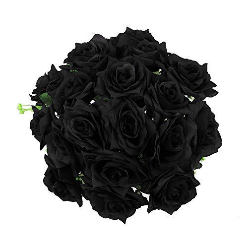 WEFLOWERSXL 18 Head Open Rose Bouquet! Grandes Flores Artificiales de Seda Falsa Premium [Negro]