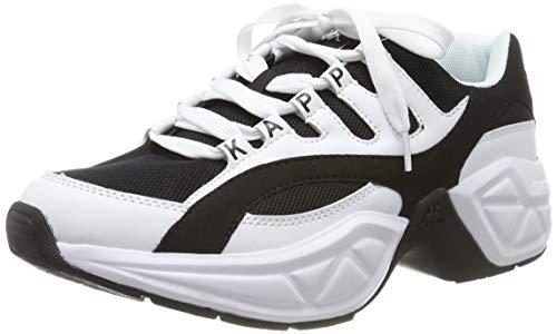 Kappa Overton Retro Sneakers | Turnschuhe für trendige 90er-Looks | markante Plateau-Sohle | strapazierfähig & pflegeleicht | hoher Laufkomfort für Männer und Frauen | Weiß/Schwarz, Größe: 40 EU