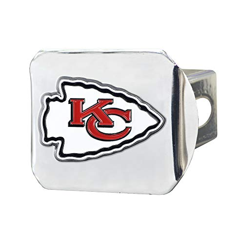 NFL Kansas City Chiefs Metal Hitch Cover, Chrome, 2