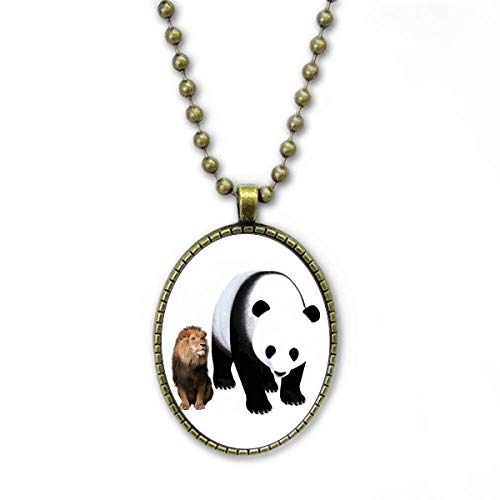 Statue des Löwen Halskette Vintage Chain Bead Anhänger Schmuckkollektion