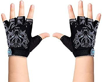Luwint Fingerless Kids Fishing Gloves Non-Slip Half Finger Sun Protection Gloves for Cycling Camping Riding Climbing Outdoor Sports