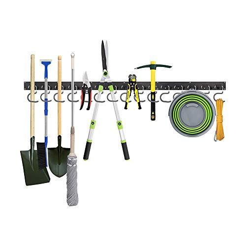 Adjustable Garage Tool Organizer Wall Mount, OURLITIME 48 Inch Adjustable Tool Storage System 12 Hooks Wall Holder Garage Storage Garden Tool Organizer