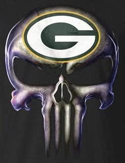 Creative Club Stickers Set of 2 Green Bay Packers Punisher Sticker Skull Decal Laptop Car Sticker Truck Window Bumper Vinyl Logo Helmet