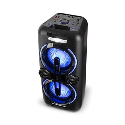 auna Bazzter, PA Party Audiosystem, mobiler Bluetooth Lautsprecher, 2 x 8'' Subwoofer, 2x50W RMS, Akku, USB-Port, MP3, AUX, UKW, LED-Lichteffekt, LCD-Display, Mikrofon, schwarz