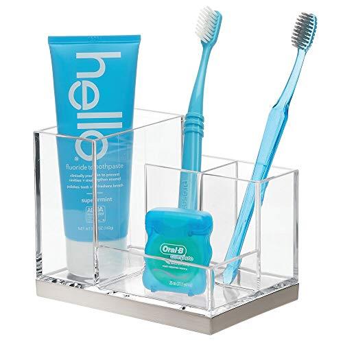 mDesign Porta spazzolini da appoggio – Bicchiere portaspazzolini con 4 scomparti per spazzolini e uno per dentifricio – Contenitore per spazzolini – trasparente/argento