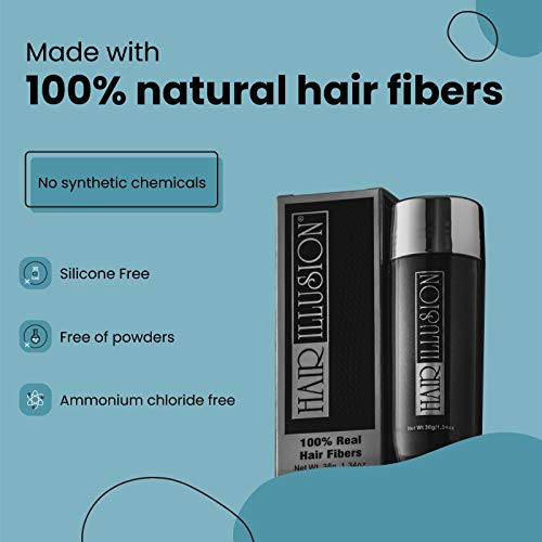 HAIR ILLUSION – 100% Real Human Hair Fibers – Not Synthetic – For Men & Women, Premium Hair Building Formulation, Black 38g