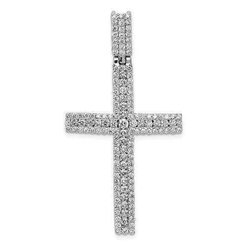 Solid 14k White Gold 1 1/10ct. Diamond Latin Cross Pendant Charm
