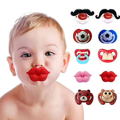 10 Stück Baby Schnuller, lustige Lippen Baby Schnuller, weiches Silikon süßes Schnuller Design mit Kusslippe, lustiger Schnuller zum Schießen Requisiten, Weihnachten, Halloween, Party
