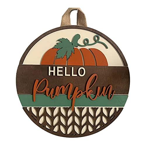 Jxfrice - Targa per Halloween Hello Pumpkin per porta anteriore, per casa e giardino, con zucca, camion rubati e ghirlande