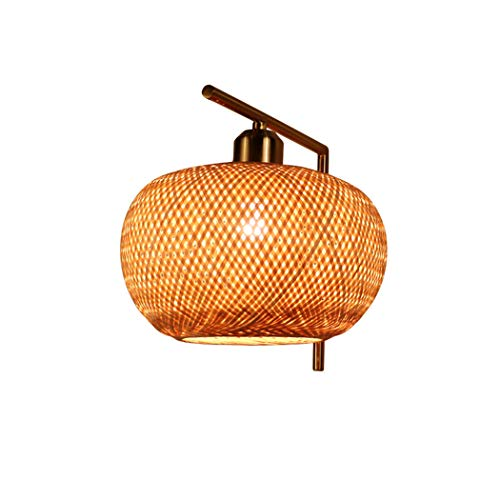 Aplique de Pared de ratán Pantalla de bambú lámpara de Pared rústico...