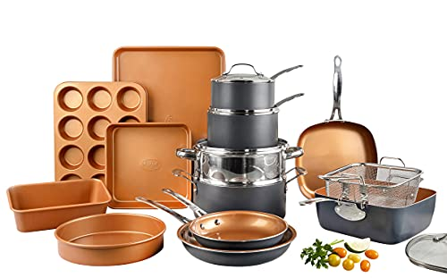 Gotham Steel Pro 20 Piece Pots & Pans Set   Hard Anodized Complete Cookware Set + Bakeware Set, Ultra Nonstick Ceramic Copper Coating, Chef Grade Quality, Metal Utensil Safe, Oven & Dishwasher Safe