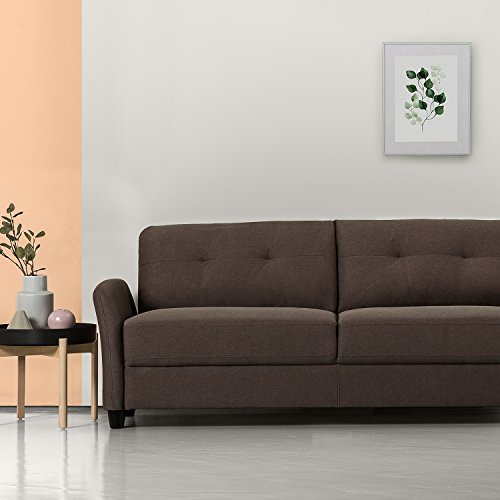 Zinus Contemporary Upholstered 78.4in Sofa/Living Room Couch, Chestnut Brown