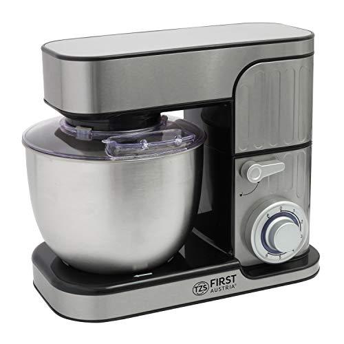 Knetmaschine mit 5 L Edelstahl-Rührschüssel | Planetenrührwerk | Edelstahl-Schneebesen | Rührmaschine | Teigmaschine | Küchenmaschine mit Spritzschutz | Metallgetriebe
