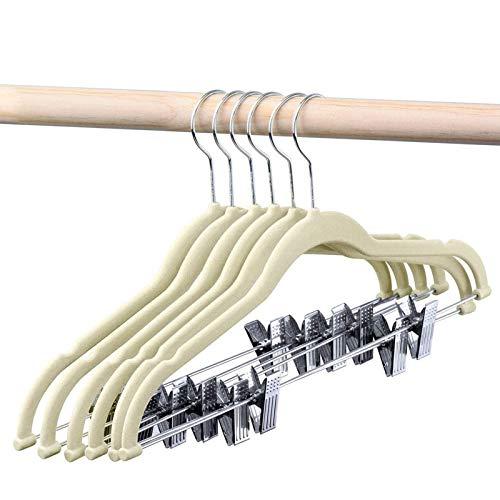 HOUSE DAY Velvet Skirt Hangers - Pack of 24 - Velvet Hangers with Clips Ultra Thin Non Slip Velvet Pants Hangers Space Saving Clothes Hanger Beige