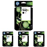 HP 940XL | Ink Cartridge Bundle | Black, Cyan, Yellow, Magenta | C4906AN, C4907AN, C4908AN, C4909AN