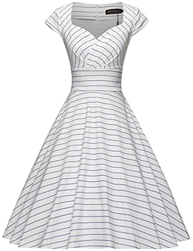 GownTown Womens Dresses Party Dresses 1950s Vintage Dresses Swing Stretchy Dresses,Vertical Striped,Small