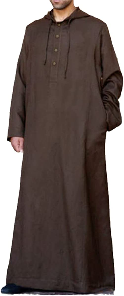 KEHAIOO Muslim Robe Hoodies Kaftan Dress Saudi Arab Dubai Long Sleeve Thobe Arabic Islamic Jubba Thobe