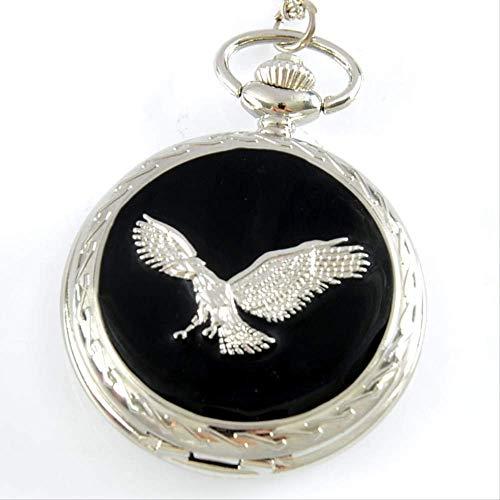 SGSG Reloj de Bolsillo Eagle Theme Full Hunter Quartz Grabado Fob Retro Colgante Reloj de Bolsillo Cadena de Regalo