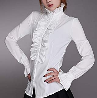 FidgetGear FD2156 Women High Neck Frilly Button Vintage Princess Ruffle Top Shirt Blouse S White