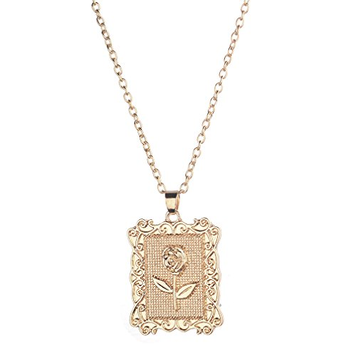 usstore friend necklaces women DONGMING Square Rose Flower Pendant Necklace Geometric Clavicle Chain Necklace for Women Girls Sweater Chain Fashion Jewelry Gift