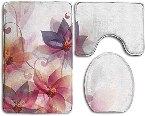 Juego de alfombrillas de baño antideslizantes con diseño de flores rosas y naranjas, 3 piezas, incluye alfombras de baño, alfombrilla de contorno, cubierta para inodoro
