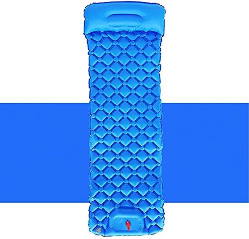 Almohadilla de dormir de aire a prueba de humedad para acampar al aire libre Camping Press colchón inflable portátil multifuncional colchón inflable (color: azul)