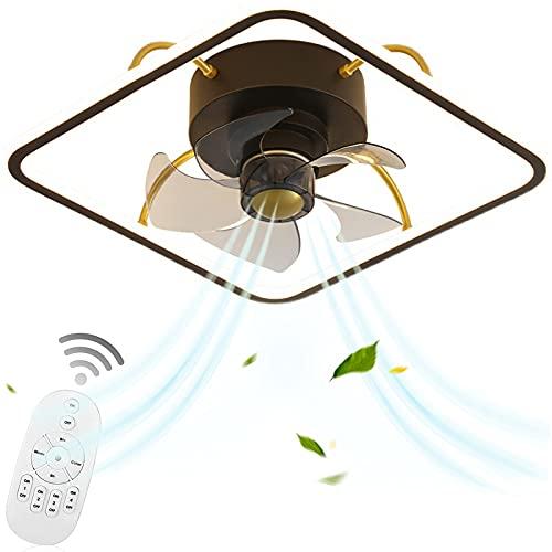 VOMI Led de Techo con Fan Regulable Lámpara Plafon con Fan Silencioso 3 Velocidades, Ventilador de Luz de Techo Control Remoto 34W para Salón Habitación Niños Dormitorio, 5 Aspas de Ventilador