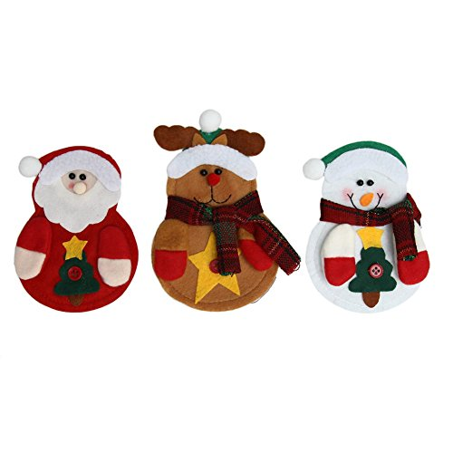 Demiawaking 3 Stück Weihnachten Weihnachtsmann Messer Gabel Geschirr Besteckbeutel Fuer Weihnachten Tisch Dekor