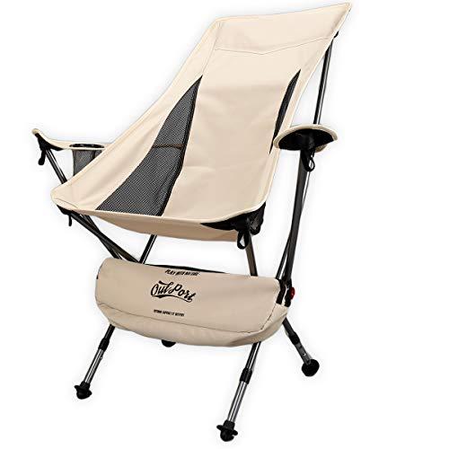 OutPort アウトドアチェア ハイバック 折りたたみ イス サンド ベージュ アームレスト 肘掛け ドリンクホルダー アルミ ジェラルミン 軽量 コンパクト キャンプ 椅子