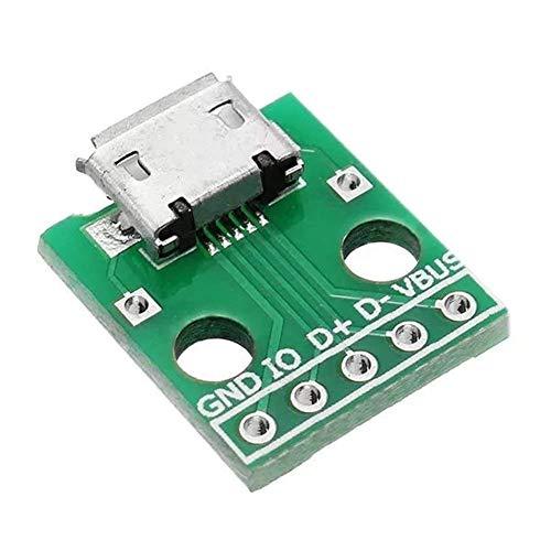 Chenbz 20pcs USB for Dip, Enchufe Hembra Tipo B Micrófono 5P Parche for sumergir 2.54mm Pin Módulo de Tarjeta de Adaptador de Soldadura con