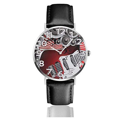 Reloj de Pulsera Música Altavoz Antiguo Rayas Durable PU Correa de Cuero Relojes de Negocios de Cuarzo Reloj de Pulsera Informal Unisex