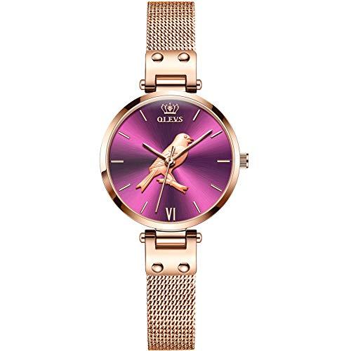 Allskid Mujer Relojes 3D En Relieve Colibrí Marcar Acero Inoxidable Malla Correa de Reloj Cuarzo Relojes de Pulsera