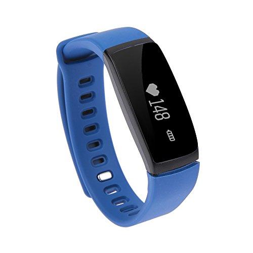 chebao, Reloj inteligente, rastreador de fitness con monitor de frecuencia cardíaca, pulsera deportiva inteligente, monitor de ritmo cardíaco, podómetro (azul)-147705.01