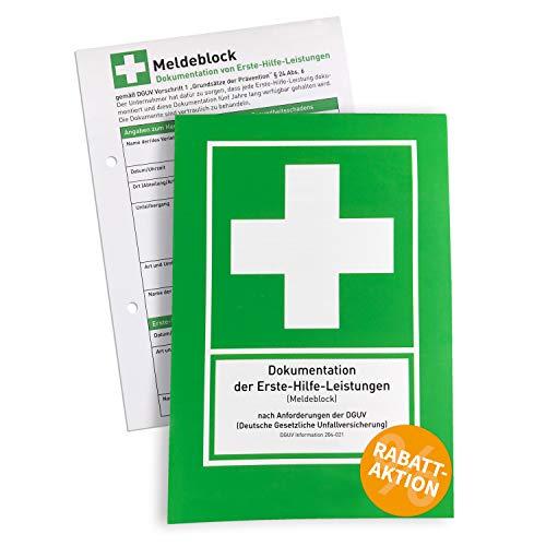 Betriebsausstattung24® Erste Hilfe Meldeblock | DIN A5 | 50 Blatt | Alternative zum Verbandbuch | Gem. DGUV | 1 Stück | Stand 2020