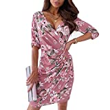 Vestido de Fiesta Sexy y Elegante con Cuello en V Profundo Vestido Delgado con Manga 3/4 Vestido Formal de Verano Primavera con Estampado Floral para Cóctel Boda Club (Rojo, L)