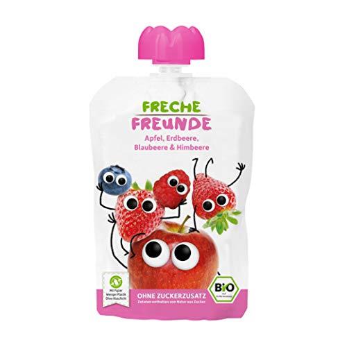 FRECHE FREUNDE Bio Quetschie Apfel, Erdbeere, Blaubeere & Himbeere, Fruchtmus im Quetschbeutel für Babys ab dem 6. Monat, glutenfrei & vegan, 6-er Pack (6 x 100g)