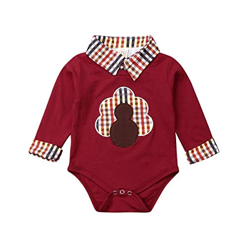 Muasaaluxi Newborn Infant Baby Boys Thanksgiving Romper Turkey Long Sleeve Bodysuit Jumpsuit Thanksgiivng Outfits 0-18M (6-12M, Wine Red)