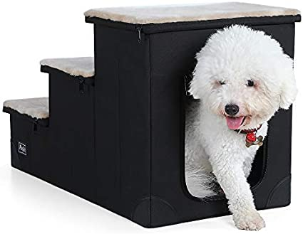 Petsfit Sturdy Dog Stairs with Inside House for Pets