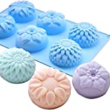 Flower Shape Silicone Candle Mold 6 Hole DIY Handmade Soap Making Supplies Tools Cake Dessert Making Mold