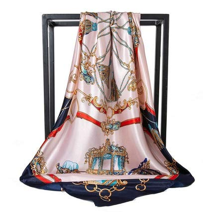 Pañuelo de Seda pañuelo de satén Plisado de Moda pañuelo de Seda Grande de 90 * 90 cm Cuadrado para Cabello/pañuelo en la Cabeza para Mujer - C139,90cm X 90cm