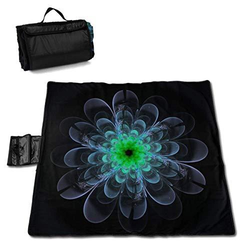 Olie Cam Obra de Arte Digital Manta de Picnic de Flor de Loto Verde con Alfombra de Picnic...