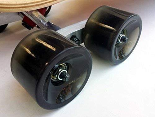PinAlloy CNC - Juego de ruedas de eje tándem plateado para monopatín, monopatín, monopatín, monopatín y camión
