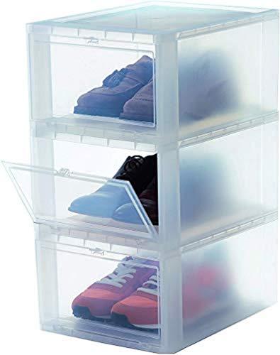 Iris Ohyama, 3er-Set Schuhboxen / Schuhschrank, transparent, stapelbar, bis 47-48, für Kleiderschrank oder Flur - Drop Front Box - EUDF-M, 14 L, 28 x 35,5 x 18 cm