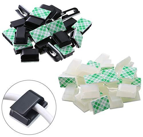 Selbstklebende 100 Stück Kabelclips Elektrische Drahtclips Kabelmanagement-Clips für Auto, Büro und Zuhause (schwarz, weiß)