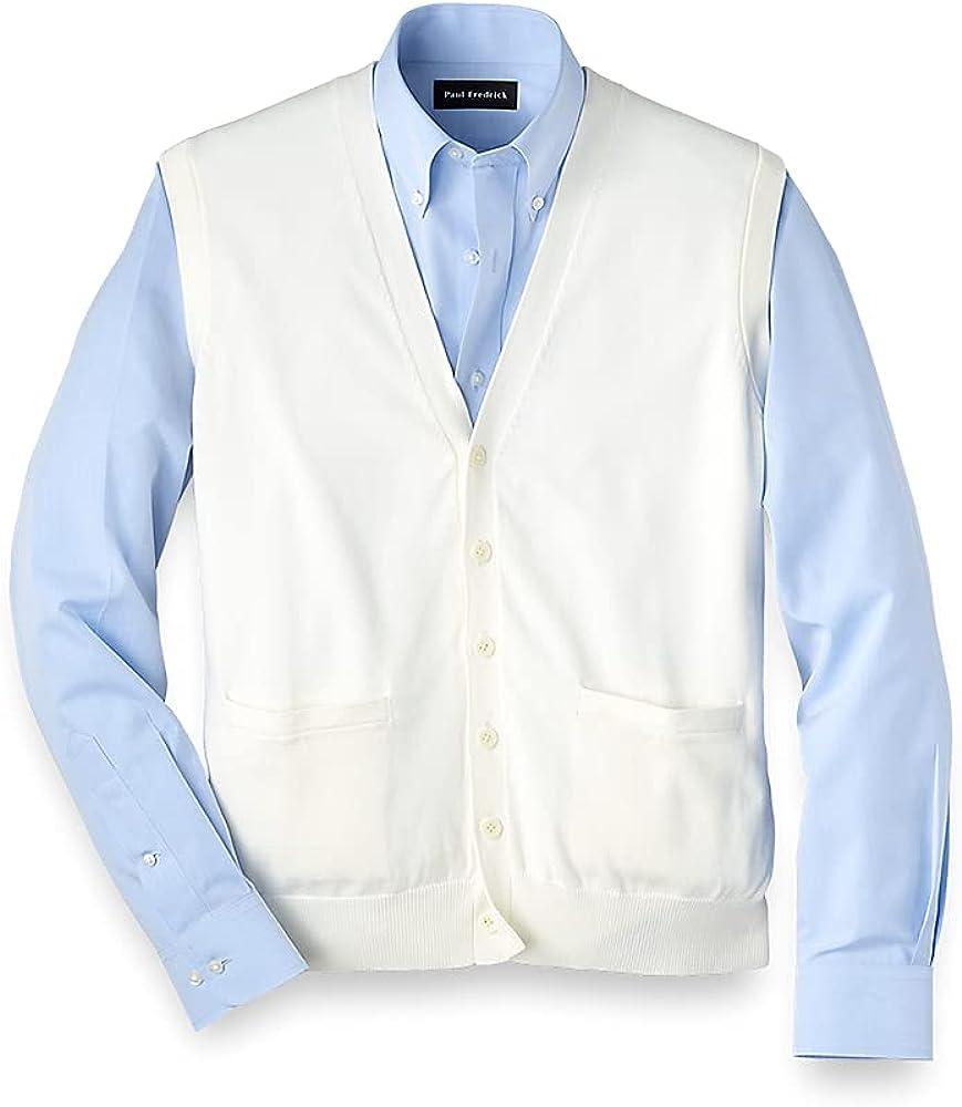 Paul Fredrick Men's Supima Cotton Solid Button Front Vest