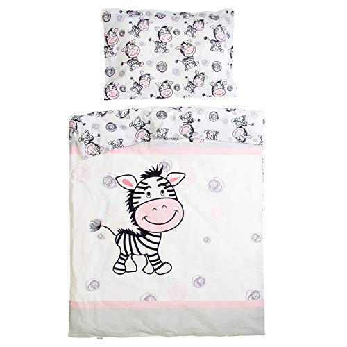 Zèbre - Pati'Chou 100% Coton Parure Linge de lit pour bébé (Taie d'oreiller et Housse de couette 100x140 cm)