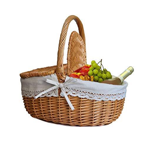 Chidi Toy Handgemachte Weidenkorb mit Deckel und Henkel, Camping Picknick Weidenkorb Einkaufskorb Picknickkorb Aufbewahrungskorb