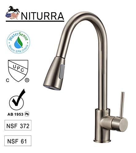 Niturra Küchenarmatur – CUPC-zertifizierter Einhebel, gebürstetes Nickel. Edelstahl Einhandgriff mit herausziehbarer Sprühpistole Stream/Spray Dual Controller