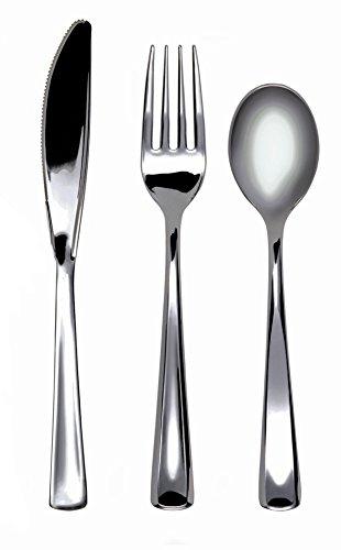 MOZAIK 18 Piece Metallised Silver Plastic Cutlery Pack (6 Forks, 6 Knives, 6 Dessert Spoons)